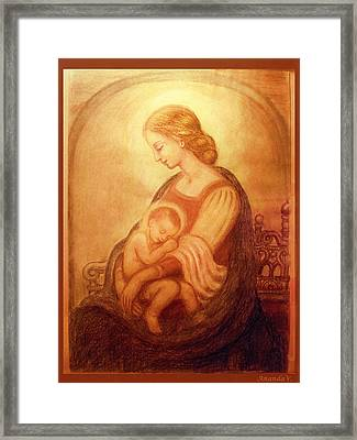 Madonna With The Sleeping Child Framed Print by Ananda Vdovic