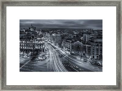 Madrid City Lights Framed Print