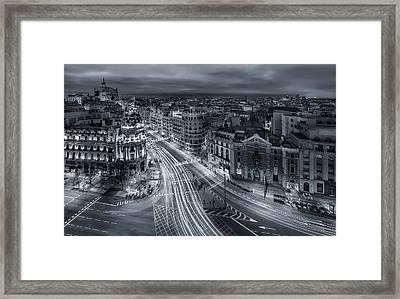 Madrid City Lights Framed Print by Javier De La