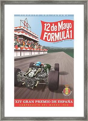 Madrid Grand Prix 1968 Framed Print by Georgia Fowler