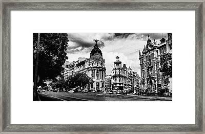 Madrid Metropolis Bw Framed Print
