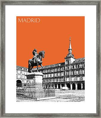 Madrid Skyline Plaza Mayor - Coral Framed Print by DB Artist