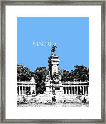 Madrid Skyline Retiro Park - Light Blue Framed Print by DB Artist