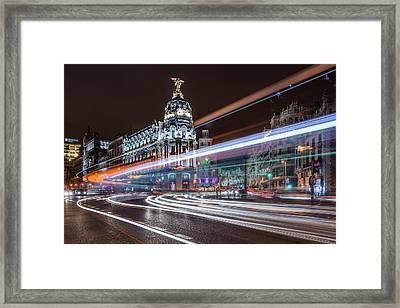 Madrid Traffic Framed Print by Javier De La