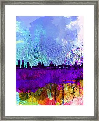 Madrid Watercolor Skyline Framed Print by Naxart Studio