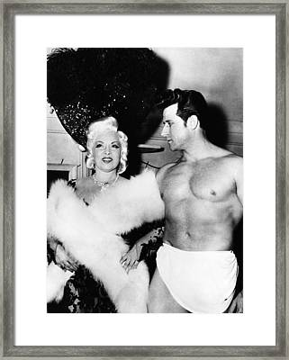 Mae West, Left, And One Of Her Muscle Framed Print by Everett