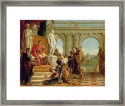 Maecenas Presenting The Liberal Arts To The Emperor Augustus Framed Print by Giovanni Battista Tiepolo