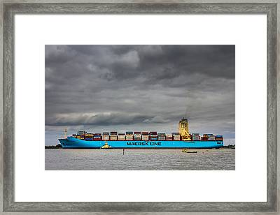 Framed Print featuring the photograph Maersk Container Ship. by Gary Gillette