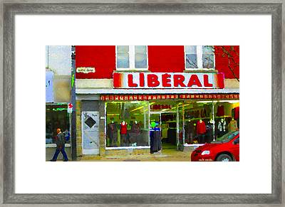 Magazin Liberal Dress Shop On Rue Notre Dame Montreal St.henri City Scenes Carole Spandau Framed Print by Carole Spandau