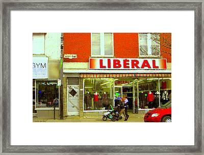 Magazin Liberal Notre Dame Ouest Dress Shop Strolling  St. Henri  Street Scenes Carole Spandau Framed Print by Carole Spandau
