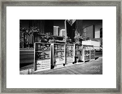 magazine stands free coupons guides and escort directories Las Vegas Nevada USA Framed Print by Joe Fox