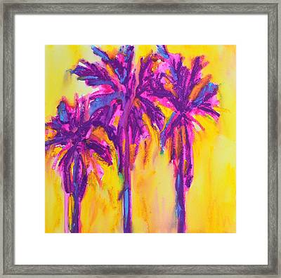 Magenta Palm Trees Framed Print by Patricia Awapara