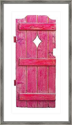 Magenta Pink Painted Garden Door Framed Print by Asha Carolyn Young
