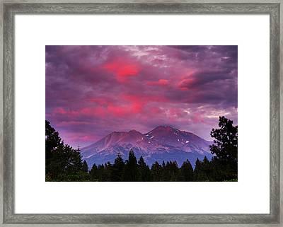 Magenta Sunset Mount Shasta Framed Print by Jeff Leland
