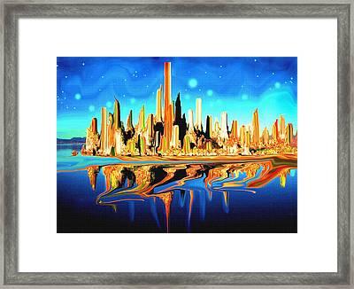 New York Skyline In Blue Orange - Abstract Art Framed Print by Art America Gallery Peter Potter