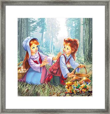 Magic Forest Mushrooms Framed Print by Zorina Baldescu