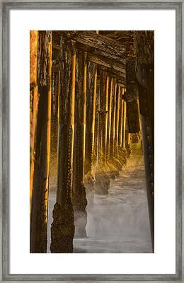 Magic Hour Under Seal Beach Pier Framed Print