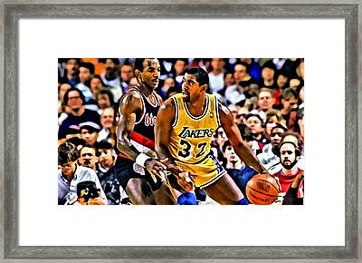 Magic Johnson Vs Clyde Drexler Framed Print