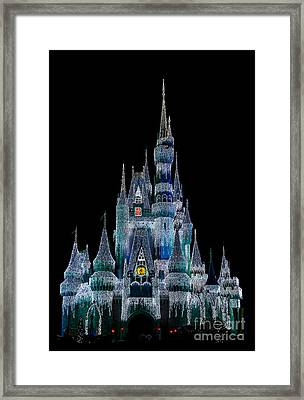 Magic Kingdom Castle Frozen Blue Frost For Christmas Framed Print