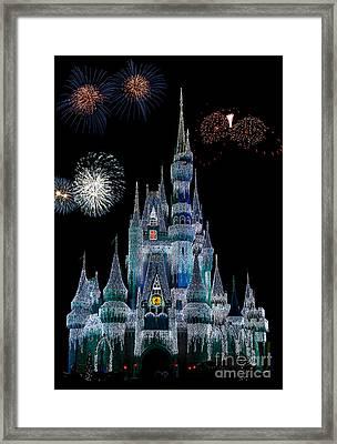 Magic Kingdom Castle Frozen Fireworks Framed Print