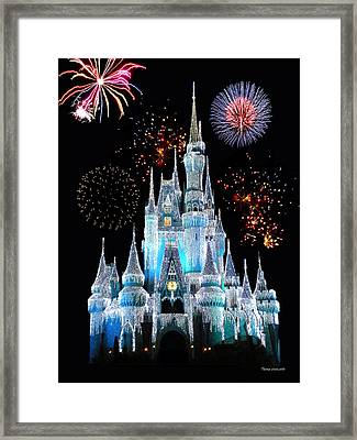 Magic Kingdom Castle In Frosty Light Blue With Fireworks 06 Framed Print