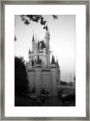 Magic Kingdom Castle Side View In Black And White Framed Print