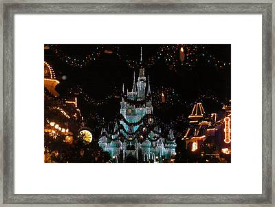Magic Kingdom Xmas Castle In Frosty Light Blue Framed Print by Thomas Woolworth