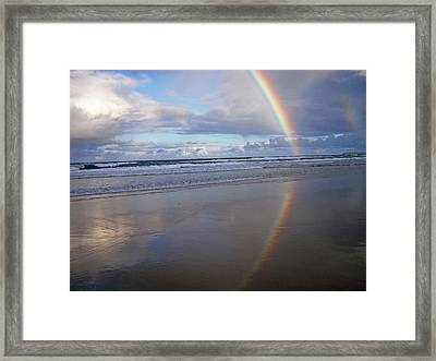 Magic Rainbow Arc Beachscape Framed Print