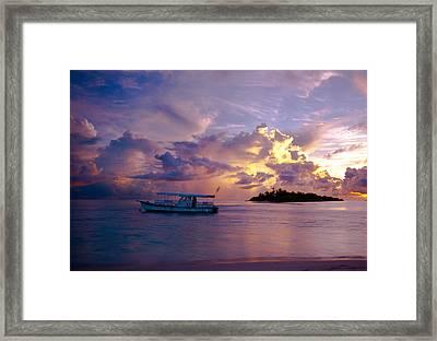 Magic Sky. Maldivian Island Framed Print by Jenny Rainbow
