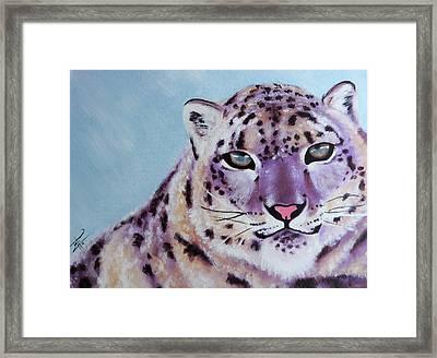 Magic Snow Leopard Framed Print by Inti Garcia