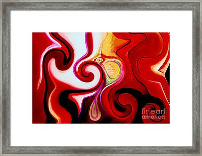 Magic Sunrise - Abstract Oil Painting Original Modern Gold Contemporary Art House Wall Deco Framed Print by Emma Lambert