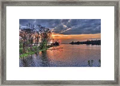 Magic Sunset Over Zegrze Lake Near Warsaw In Poland Framed Print