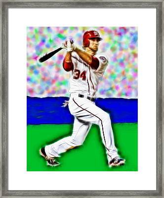 Magical Bryce Harper Connects Framed Print by Paul Van Scott