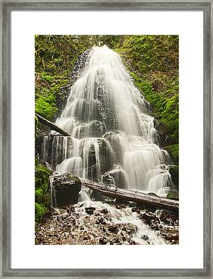 Magical Falls - Fairy Falls In The Columbia River Gorge Area Of Oregon Framed Print