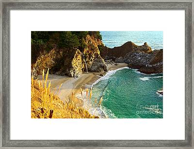 Magical Falls Of Mcway Waterfall At Julia Pfeiffer Burns State Park Framed Print by Jamie Pham