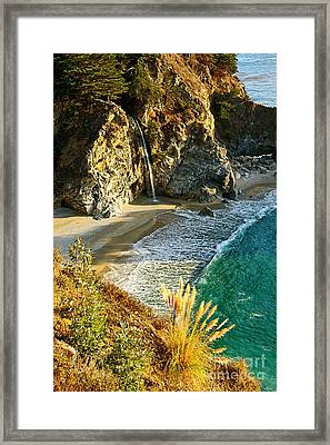 Magical Falls Of Mcway Waterfall At Julia Pfeiffer Burns State Park Near Monterey. Framed Print