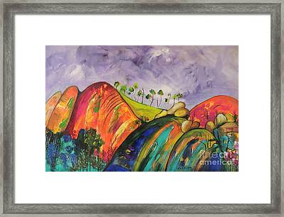 Framed Print featuring the painting Magical Mountains by Lyn Olsen