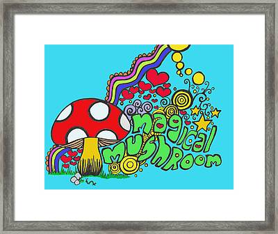 Magical Mushroom Pop Art Framed Print by Moya Moon