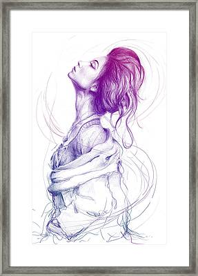 Purple Fashion Illustration Framed Print