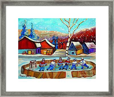 Magical Pond Hockey Memories Hockey Art Snow Falling Winter Fun Country Hockey Scenes  Spandau Art Framed Print by Carole Spandau