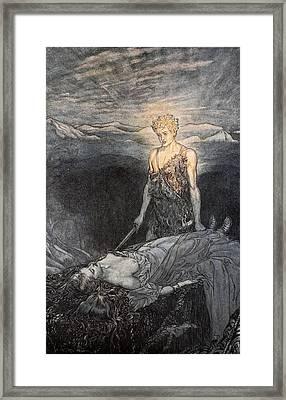 Magical Rapture Pierces My Heart; Fixed Framed Print by Arthur Rackham