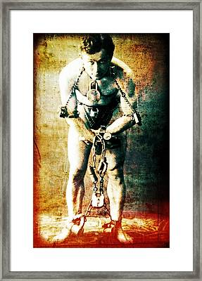Magician Harry Houdini In Chains   Framed Print