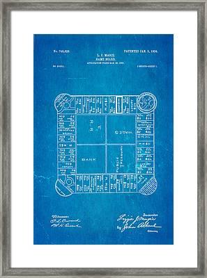 Magie Landlord's Game Patent Art 1904 Blueprint Framed Print by Ian Monk