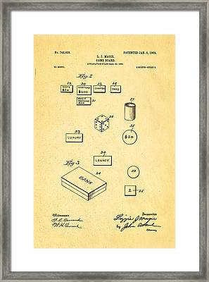 Magie Landlord's Game Patent Art 2 1904 Framed Print by Ian Monk