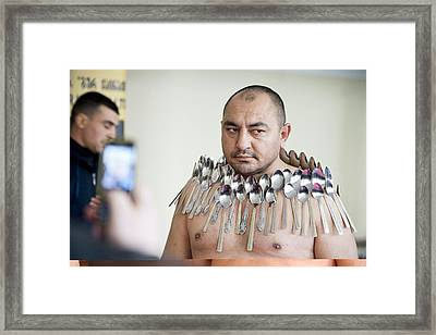Magnet Man' World Record Attempt, Framed Print by Science Photo Library