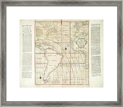 Magnetic Chart Of The Atlantic Framed Print