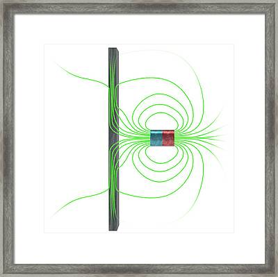 Magnetic Field Interacting With Iron Framed Print by Claus Lunau