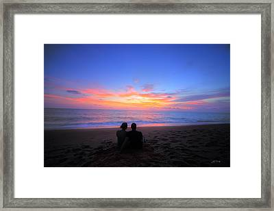 Magnificent Sunset With Couple Framed Print by Ed Cilley