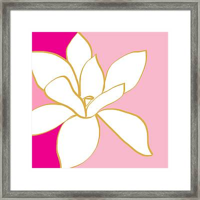 Magnolia 2- Colorful Floral Painting Framed Print by Linda Woods