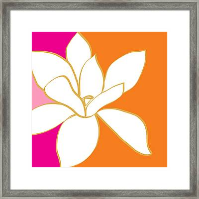 Magnolia 3- Colorful Flower Art Framed Print by Linda Woods